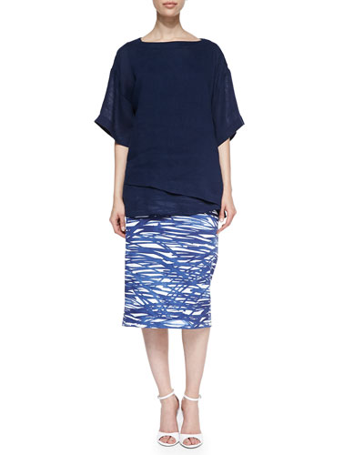 Lafayette 148 New York Lina Short-Sleeve Linen Top & Dayna River Ripples Pencil Skirt