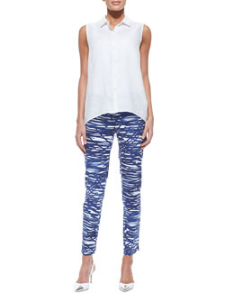 Lafayette 148 New York Daisy Sleeveless Button-Down Blouse & Stanton River Ripples Capri Pants