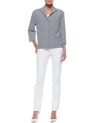 Lafayette 148 New York Armada-Striped Topper Jacket, Basic Cotton Tank & Curvy Slim Jeans