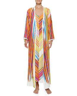 Natori Loren Striped Charmeuse Robe & Long Gown
