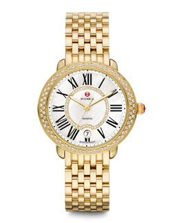MICHELE Serein 16 Golden Diamond Watch Head & 16mm 18k Gold-Plated Bracelet