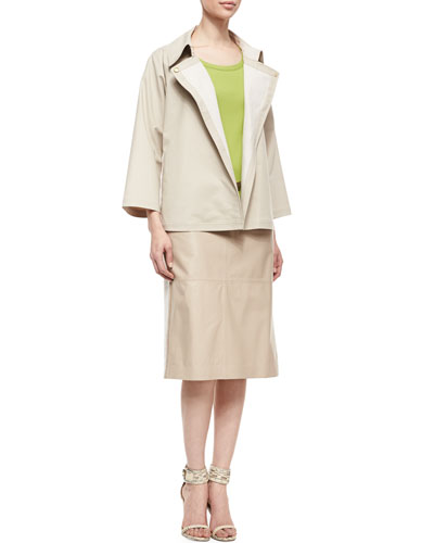 Lafayette 148 New York Reanne Bracelet-Sleeve Topper Jacket/Cotton-Stretch Basic Tee & Over-the-Knee Leather Front Skirt