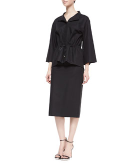 Lafayette 148 New York Neptina Flare-Sleeve Drawstring-Waist Topper Jacket & Dayna Below-the-Knee Skirt