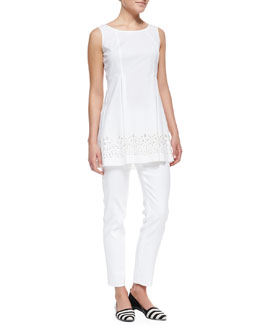 Lafayette 148 New York Zaharia Long A-Line Top with Cutouts  & Metro Stretch Bleecker Cropped Pants