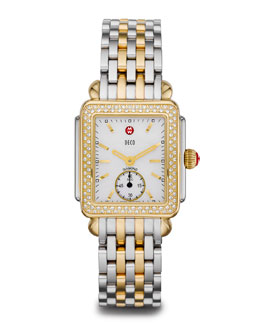 MICHELE Two-Tone Diamond Deco Watch Head & 16mm Deco Bracelet Strap
