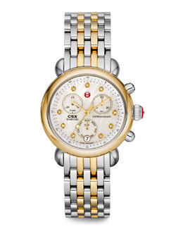 MICHELE CSX-36 Diamond Gold Watch Head & Two-Tone Bracelet Strap