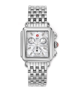 MICHELE Deco Diamond Dial Watch Head & Deco 7-Link Bracelet Strap