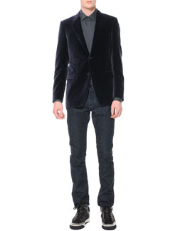Lanvin Velvet Evening Jacket & Slim 5-Pocket Jeans