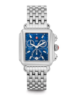 MICHELE Deco 18 Diamond Blue Dial Watch Head & Deco 7-Link Bracelet Strap