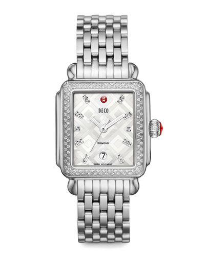 MICHELE Deco Mosaic Geometric Diamond Watch Head, 18mm Deco Diamond Bracelet Strap, 18mm Diamond Link Bracelet & Deco 7-Link Bracelet Strap