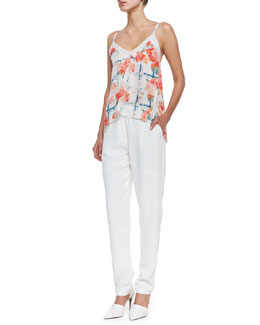 Rebecca Minkoff Dali Floral-Print Sleeveless Top & Ara Stretch-Waist Straight Pants