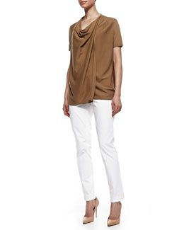 Lafayette 148 New York Short-Sleeve Draped Cardigan & Downtown Straight-Leg Pants