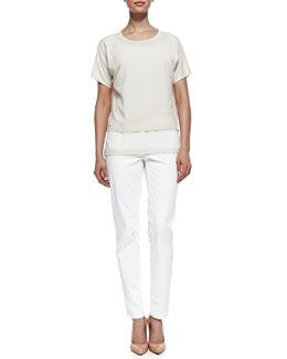 Lafayette 148 New York Raffia Short-Sleeve Layered Sweater & Downtown Straight-Leg Pants