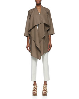Lafayette 148 New York Poplin Oversized Shawl-Collar Long Topper & Downtown Cropped Pants