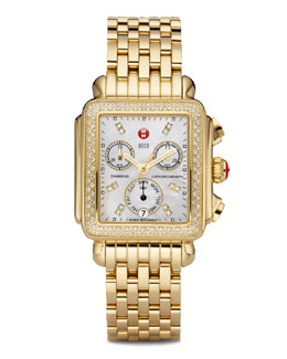 MICHELE Deco Day Diamond Head & Bracelet, 18mm Deco Diamond Bracelet & 18mm Deco Gold Bracelet Strap