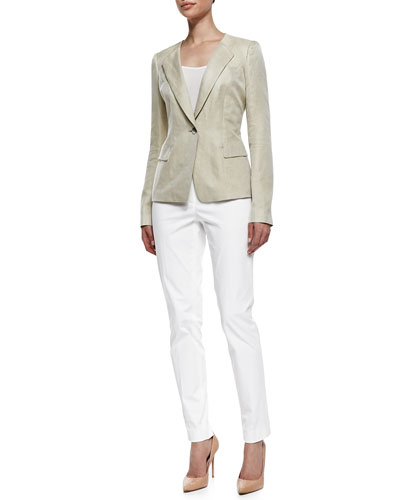 Lafayette 148 New York Eco Twill Weave One-Button Jacket & Downtown Straight-Leg Pants