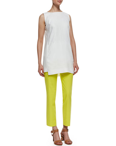 Lafayette 148 New York Sleeveless Linen Long Top with Pockets & Metro Stretch Bleecker Cropped Pants