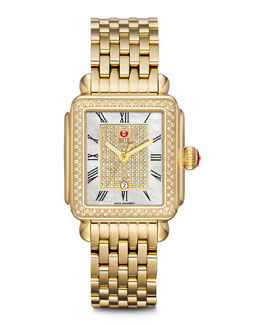 MICHELE Deco Diamond Watch Head & 18mm Deco Gold Bracelet Strap