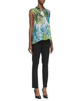 Lafayette 148 New York Palm Impressions Sleeveless Printed Blouse & Downtown Straight-Leg Pants