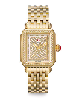 MICHELE Limited Edition Deco Diamond-Dial Watch Head, 18mm Deco Diamond Bracelet & 18mm Deco Gold Bracelet Strap