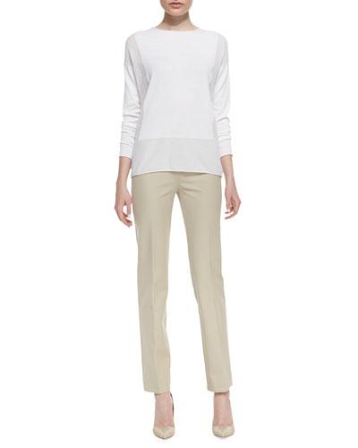 Lafayette 148 New York Long-Sleeve Sweater with Sheer Panels & Bleecker Jodhpur-Cloth Pants