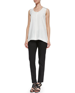 Lafayette 148 New York Sleeveless Silk High-Low Blouse & Downtown Straight-Leg Pants