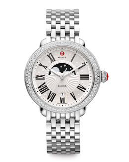 MICHELE Serein Moon Phase Diamond Watch Head, Serein 7-Link Bracelet Strap, Serein Diamond Taper 7-Link Bracelet Strap