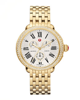 MICHELE Serein Diamond Yellow Golden Watch Head & 18mm Bracelet Strap