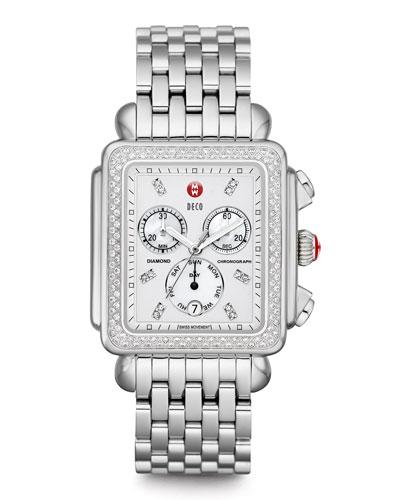 MICHELE Deco XL Diamond Dial Watch Head & 20mm Bracelet Strap