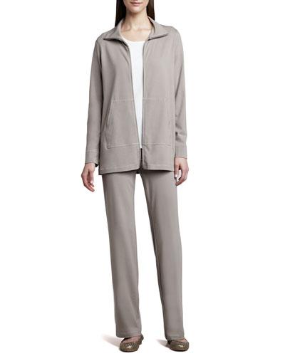 Eileen Fisher Organic Cotton Zip Jacket, Tee & Pants