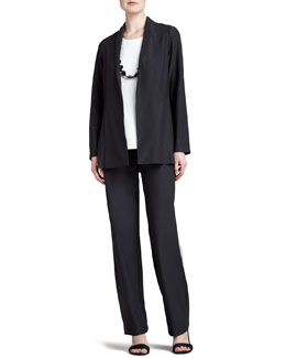 Eileen Fisher Crepe Shawl-Collar Jacket, Cap-Sleeve Stretch Tunic & Stretch-Crepe Pants, Petite