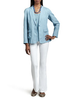 Eileen Fisher Linen One-Button Jacket & Short-Sleeve Linen Gauze Top, Petite