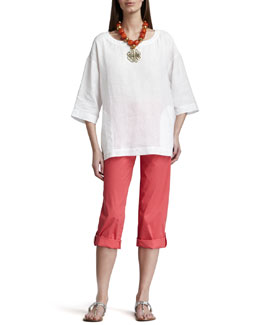 Eileen Fisher Boxy Linen Top & Cuffed Twill Capri Pants, Petite