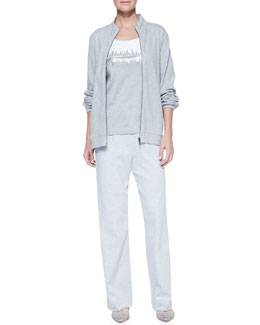 Joan Vass Interlock Stretch Zip-Front Jacket, Two-Tone Beaded Sleeveless Shell & Interlock Stretch Pants, Petite