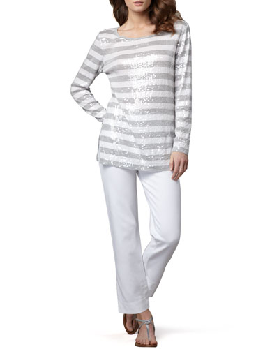 Joan Vass Sequined Striped Tunic & Slim Ponte Ankle Pants