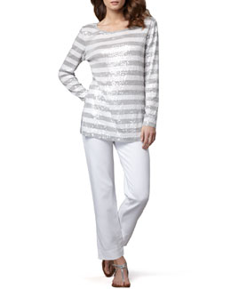 Joan Vass Sequined Striped Tunic & Slim Ponte Ankle Pants, Petite