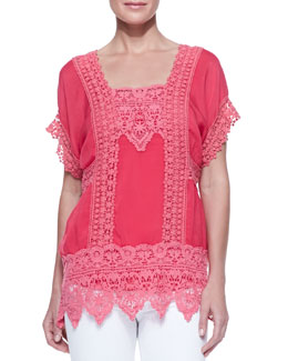 Johnny Was Collection Lacey Insert Georgette Top & Scoop-Neck Cotton Tank