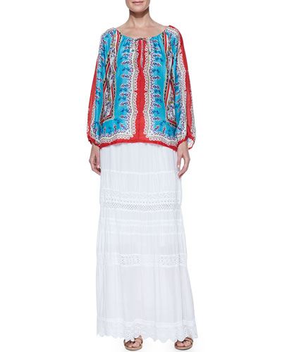 Johnny Was Collection Talasi Silk Long-Sleeve Blouse & Trim-Inset Georgette Eyelet Skirt