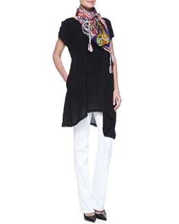 Johnny Was Collection Asymmetric Georgette V-Neck Tunic & Patchwork Silk Scarf