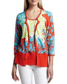 Berek Knit Pretty-In-Papaya Cardigan & Shell, Petite