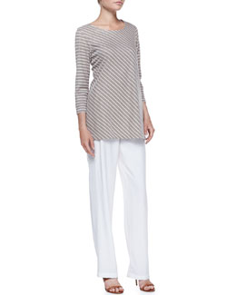Caroline Rose Striped-Knit 3/4-Sleeve Tunic & Cabo Knit Straight-Leg Pants