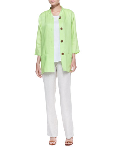 Caroline Rose Tissue Linen Big Shirt, Tissue Linen Tank & Tissue Linen Straight-Leg Pants, Petite