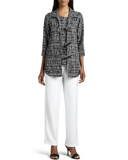 Caroline Rose Travel Crosshatch Jacket, Shell & Straight-Leg Pants