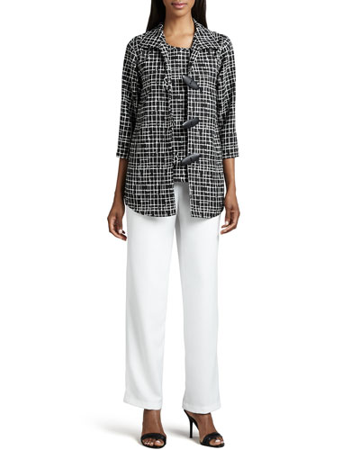 Caroline Rose Travel Crosshatch Jacket, Shell & Straight-Leg Pants