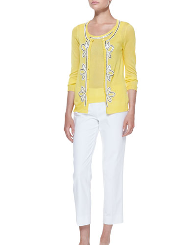 Michael Simon Button-Front Cardigan & Shell with Bead Trim