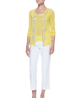 Michael Simon Button-Front Cardigan & Shell with Bead Trim, Petite