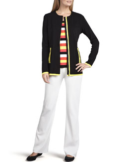 Misook Milano Piped Long Jacket, Striped Tank & Boot-Cut Pants, Women's