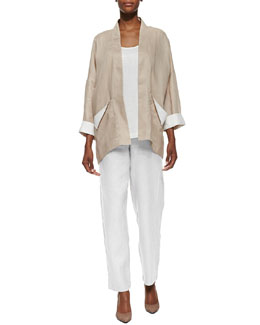 Go Silk Dropped-Shoulder Linen Jacket, Linen Scoop-Neck Tank & Straight-Leg Linen Pants, Petite