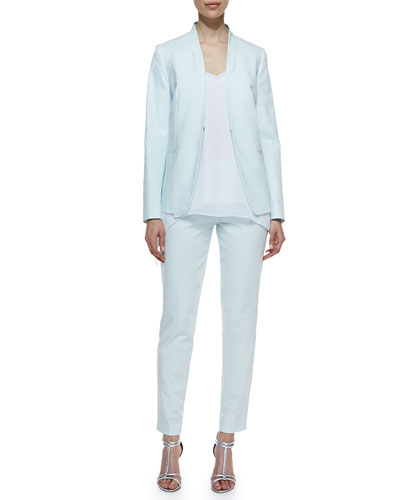 T Tahari Lisbon Twill Collarless Jacket, Floren Sleeveless Handkerchief Blouse & Raquel Slim-Fit Pants