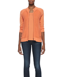 Belford Knit 3/4-Sleeve Jacket and Scoop-Neck Pima Cotton Tank